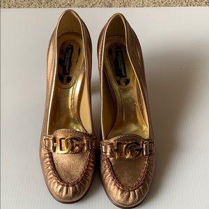 Dolce Gabbana metallic rose gold heels